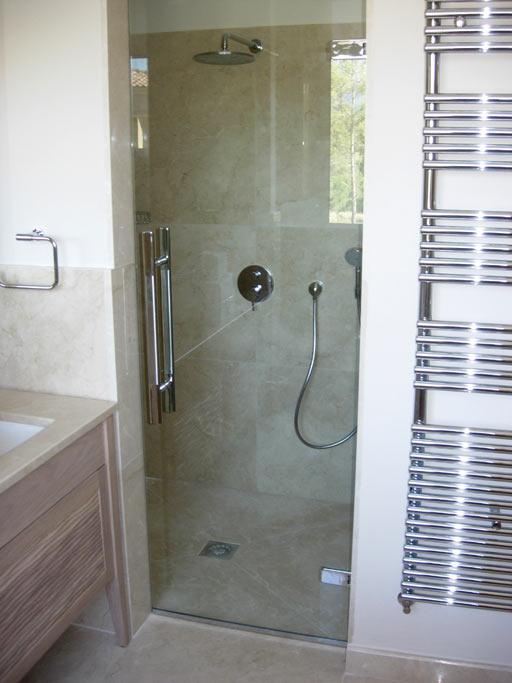 Sablart salle de bain - Pose porte douche verre ...
